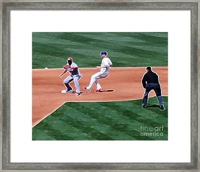 Safe At Second Base Framed Print by Terry Weaver