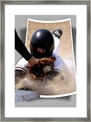 Safe At Third Framed Print by Jim Finch