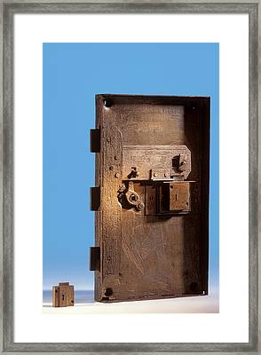Safe Door From The Titanic Framed Print by Science Photo Library