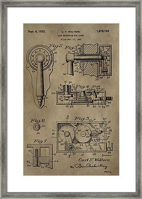Safe Lock Patent Framed Print by Dan Sproul