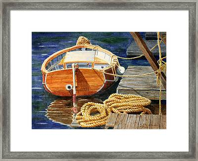 Framed Print featuring the painting Safe Mooring by Roger Rockefeller
