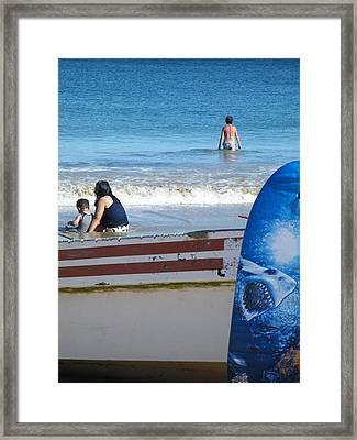 Framed Print featuring the photograph Safe To Go In The Water by Brian Boyle