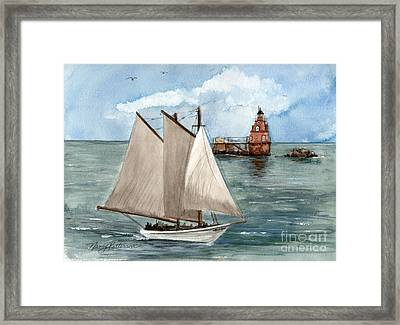 Framed Print featuring the painting Safely Past The Shoal  by Nancy Patterson