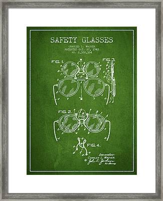 Safety Glasses Patent From 1942 - Green Framed Print by Aged Pixel