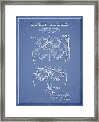 Safety Glasses Patent From 1942 - Light Blue Framed Print by Aged Pixel