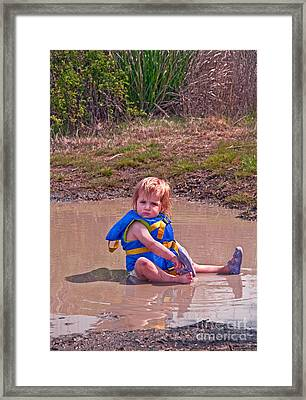 Safety Is Important - Toddler In Mudpuddle Art Prints Framed Print by Valerie Garner