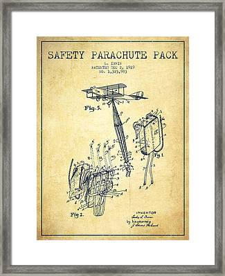 Safety Parachute Patent From 1919 - Vintage Framed Print by Aged Pixel