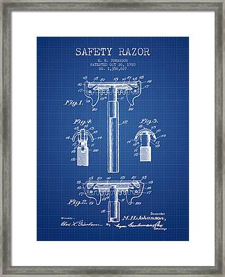 Safety Razor Patent From 1920 - Blueprint Framed Print by Aged Pixel