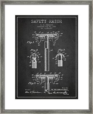 Safety Razor Patent From 1920 - Dark Framed Print by Aged Pixel