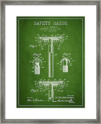 Safety Razor Patent From 1920 - Green Framed Print by Aged Pixel