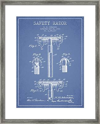 Safety Razor Patent From 1920 - Light Blue Framed Print by Aged Pixel