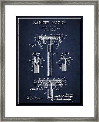 Safety Razor Patent From 1920 - Navy Blue Framed Print by Aged Pixel