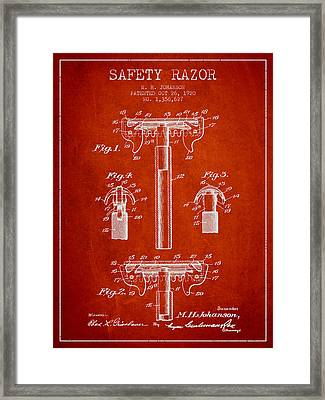 Safety Razor Patent From 1920 - Red Framed Print by Aged Pixel