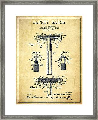 Safety Razor Patent From 1920 - Vintage Framed Print