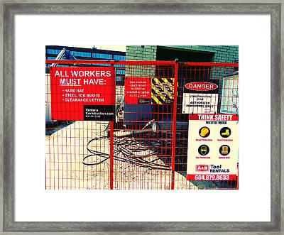 Framed Print featuring the photograph Safety Signs by Laurie Tsemak