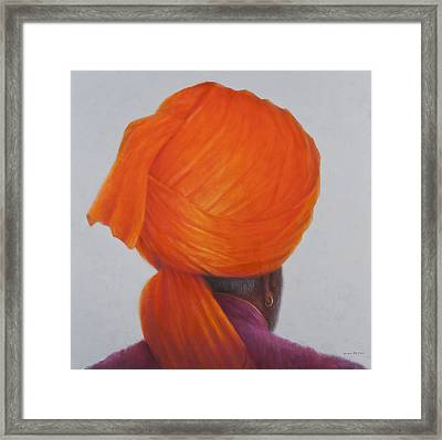 Saffron Turban, 2014 Oil On Canvas Framed Print by Lincoln Seligman