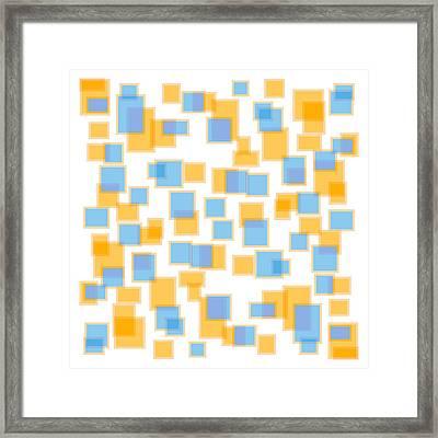 Saffron Yellow And Azure Blue Framed Print