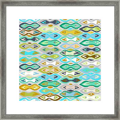 Sagar Silver Ikat Framed Print by Sharon Turner