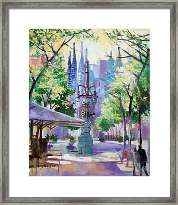 Framed Print featuring the painting Sagarda Familia Barcelona by Paul Weerasekera