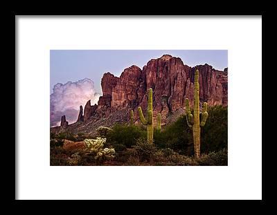 Superstition Mountains Framed Prints