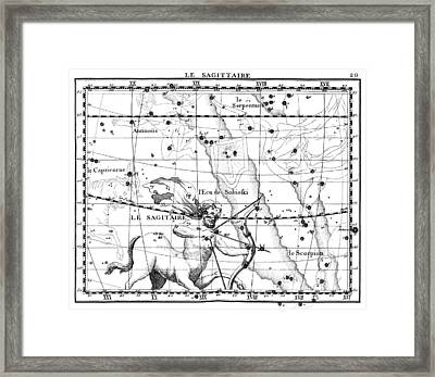 Sagittarius Constellation, Zodiac, 1729 Framed Print by U.S. Naval Observatory Library