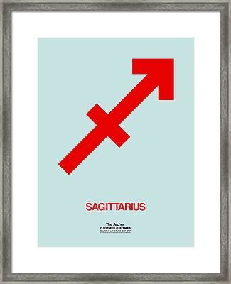 Sagittarius Zodiac Sign Red Framed Print