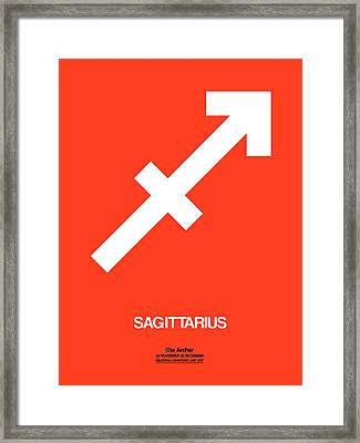 Sagittarius Zodiac Sign White On Orange Framed Print