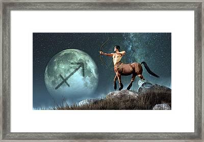 Sagittarius Zodiac Symbol Framed Print by Daniel Eskridge