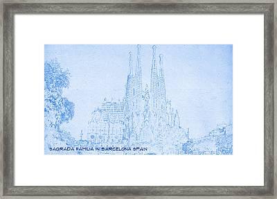 Sagrada Familia In Barcelona Spain  - Blueprint Drawing Framed Print
