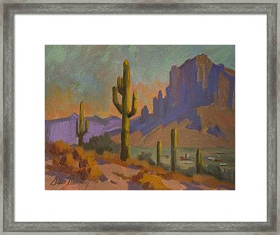 Saguaro Cactus And Apache Junction Framed Print by Diane McClary