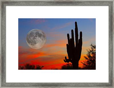 Saguaro Full Moon Sunset Framed Print by James BO  Insogna