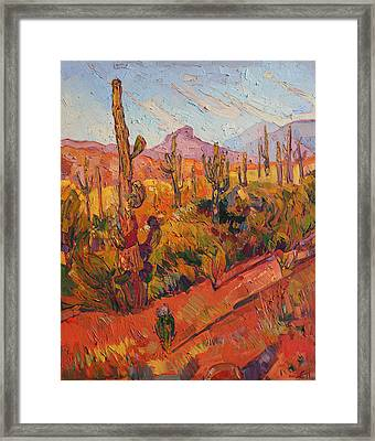 Saguaro Gathering  Framed Print by Erin Hanson
