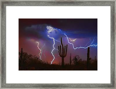 Saguaro Lightning Nature Fine Art Photograph Framed Print by James BO  Insogna