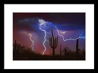 Scottsdale Lightning Framed Prints