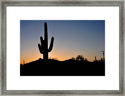 Framed Print featuring the photograph Saguaro Sunset by Diane Lent