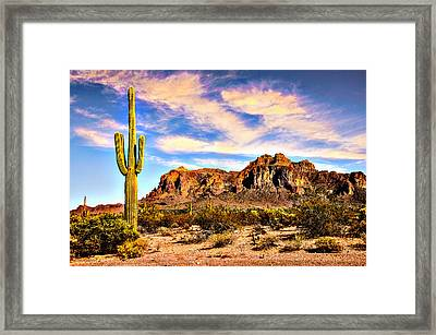 Saguaro Superstition Mountains Arizona Framed Print