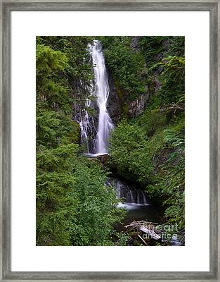 Sahale Falls In Oregon Framed Print by Jackie Follett