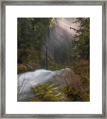 Sahalie Falls Mist Framed Print
