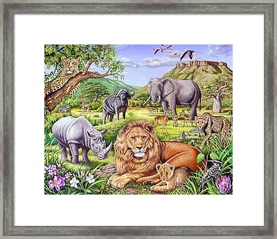 Saharan Animal Gathering Framed Print by Mark Gregory