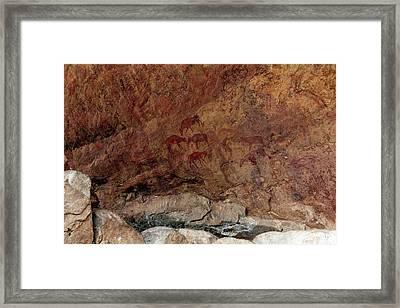 Saharan Rock Painting Framed Print