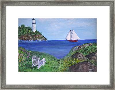 Framed Print featuring the painting Lighthouse View by Debbie Baker