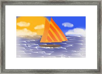 Sail Away On A Foggy Day  Framed Print by Andee Design
