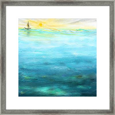 Sail Away- Sailing At Sunset Painting Framed Print by Lourry Legarde