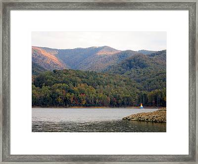 Sail Boat And Mountains Framed Print