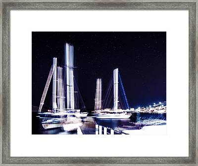 Sail Boat In Starry Night Framed Print by Anna Om