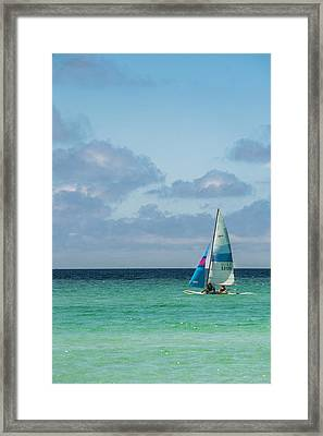 Sail Boat On The Ocean Framed Print by Shelby  Young