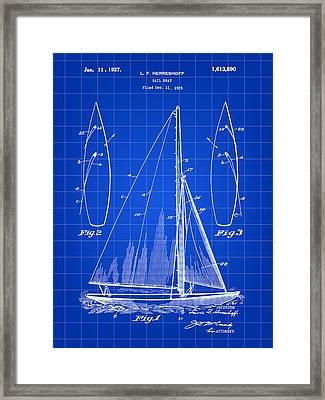 Sail Boat Patent 1925 - Blue Framed Print