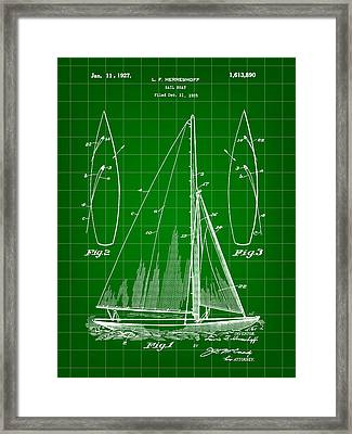 Sail Boat Patent 1925 - Green Framed Print