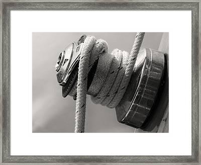 Sail Boat Winch Framed Print by Tony Grider