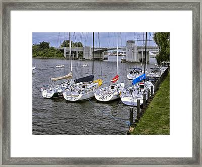 Sail Boats 4 In A Row Framed Print by Thomas Woolworth